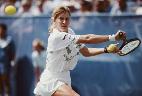Steffi Graf at the United States Open Tennis Championship of 1988 - victory here enabled her to complete the 'Golden Slam'