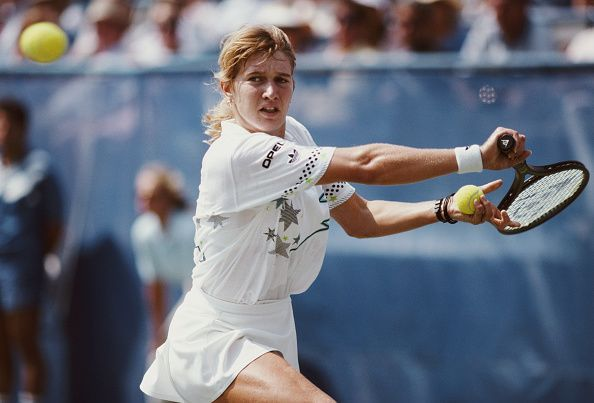 Steffi Graf at the United States Open Tennis Championship of 1988 - victory here enabled her to complete the
