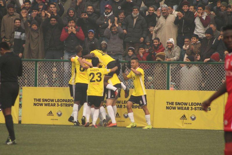 Real Kashmir players celebrate their goal against Aizawl FC