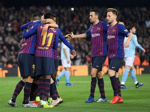 FC Barcelona superstars during their 2-0 victory over Celta De Vigo last weekend