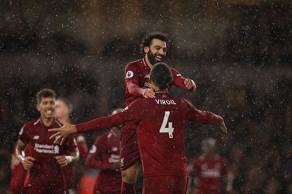 Goals from Salah and van Dijk saw Liverpool top the Premier League at Christmas