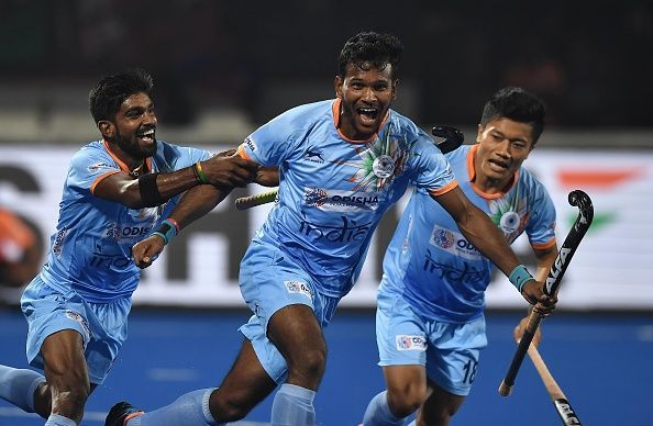9545c05889d Indian players celebrating after scoring against Canada
