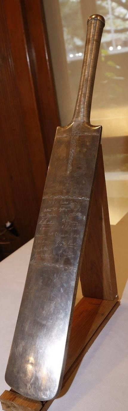 The Silver Bat presented to Col. CK Nayudu by the MCC team