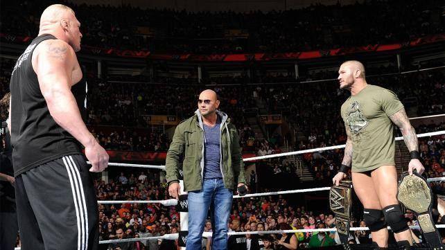 Batista, Randy Orton and Brock Lesnar after Royal Rumble 2014