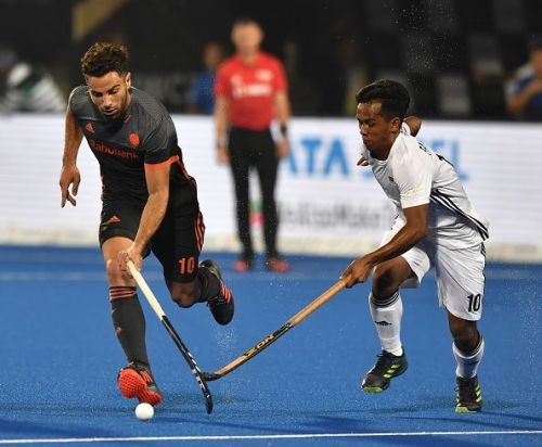 Action from the Netherlands v Malaysia match at the Men's Hockey World Cup 2018