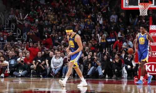 Headband Klay erupted for 52 points in Chicago. Credit: USA Today