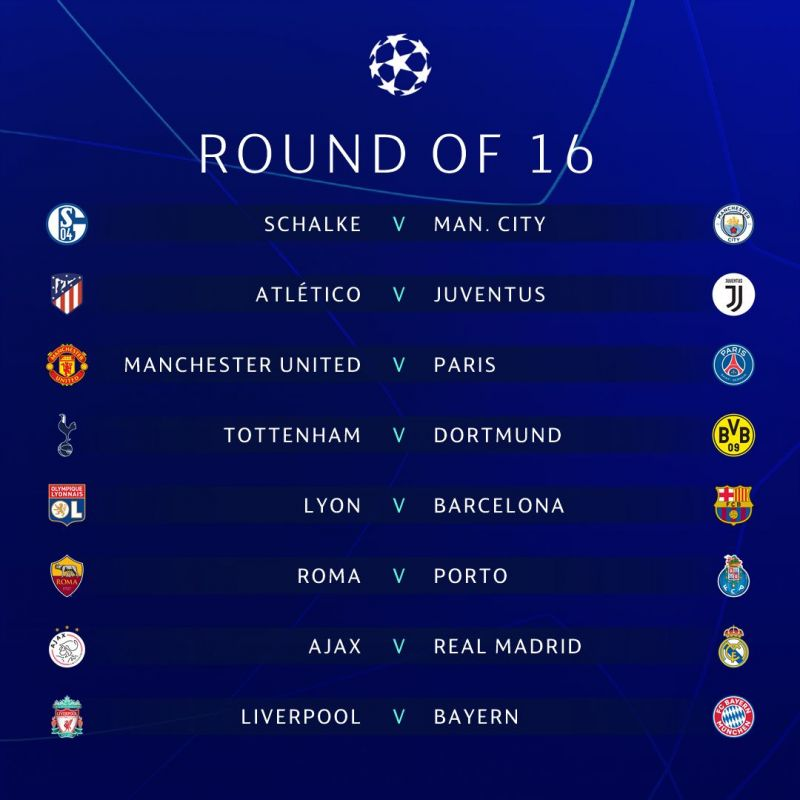 UEFA Champions League 2018-19 Round of 16 Draw