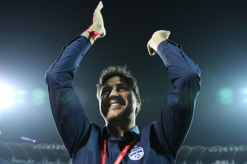 Bengaluru FC coach Carles Cuadrat acknowledges the fans after yet another win [Image: ISL]