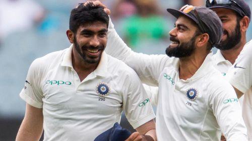 Bumrah with captain Kohli