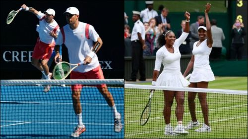 The Bryan brothers (L) and the Williams sisters (R)