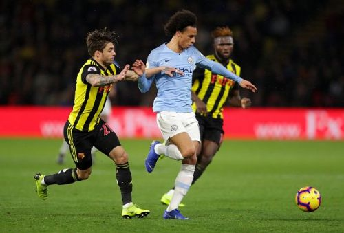 Leroy Sane sent Manchester City on their way to a win at Vicarage Road.