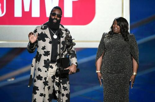 Harden with the 2017-18 NBA MVP trophy