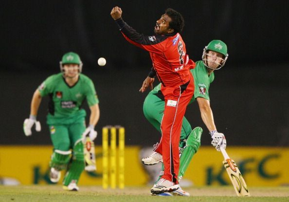 Muttiah Muralitharan is trying to grab a chance off his own bowling during a stint in the Big Bash League.