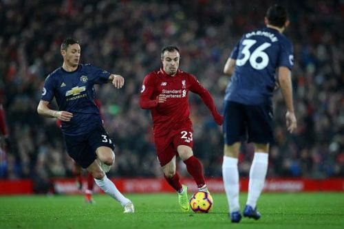 Matchwinner Shaqiri in action against United this past weekend