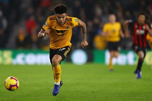 Rising teenage star Morgan Gibbs-White in action against Bournemouth