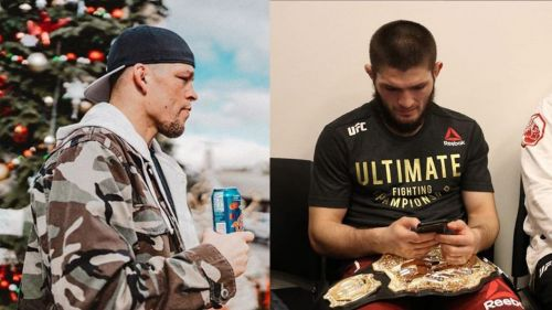 Nate Diaz (left) and Khabib Nurmagomedov (right)