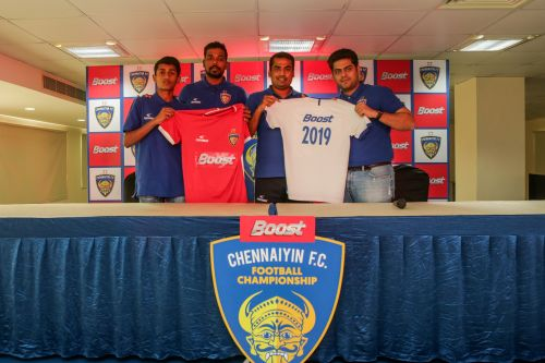 Chennaiyin FC assistant coach Syed Sabir Pasha (second from right) and midfielder Dhanpal Ganesh (second from left) inaugurated the Boost Chennaiyin FC Football Championship