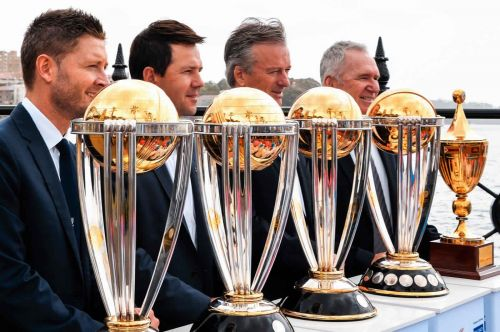 The five World Cup trophies won by Australia.