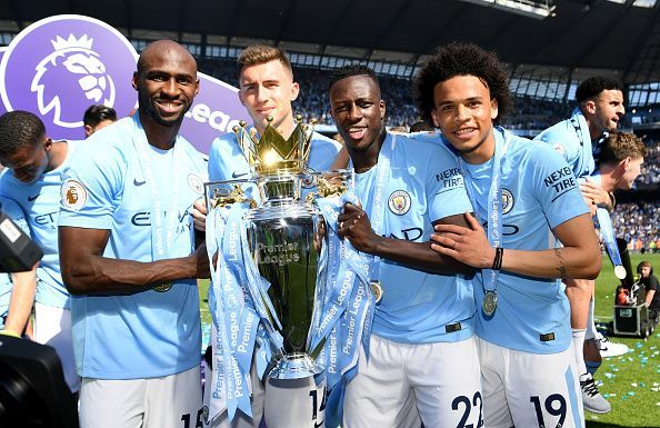 Mangala and his Manchester City teammates with the Premier League trophy