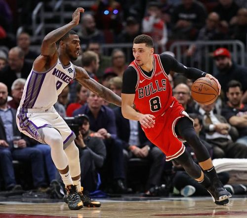 Chicago Bulls' SG Zach LaVine in action against the Sacramento Kings