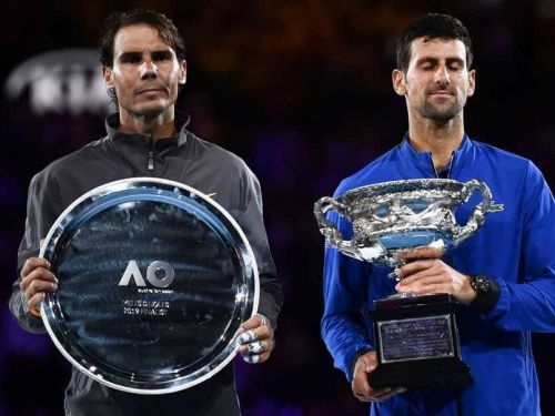 Rafael Nadal (left) and Novak Djokovic after the final