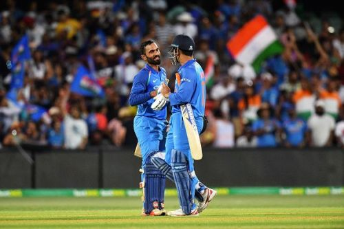 Dhoni and Karthik after the victory.