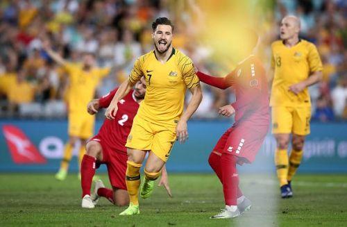 Mathew Leckie celebrating his goal against Lebanon