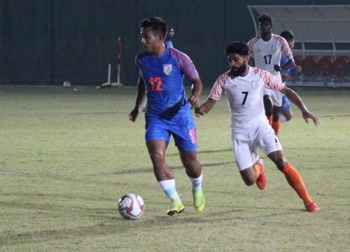 Indian football team's practice match against itself