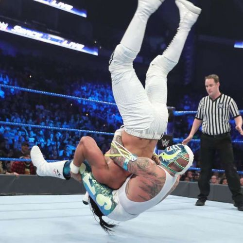 Rey Mysterio performed a Canadian Destroyer on Andrade 'Cien' Almas on SmackDown