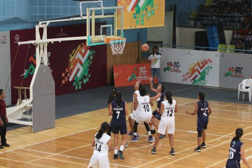 Kerala girls basketball team in action against Punjab at Khelo India Youth Games