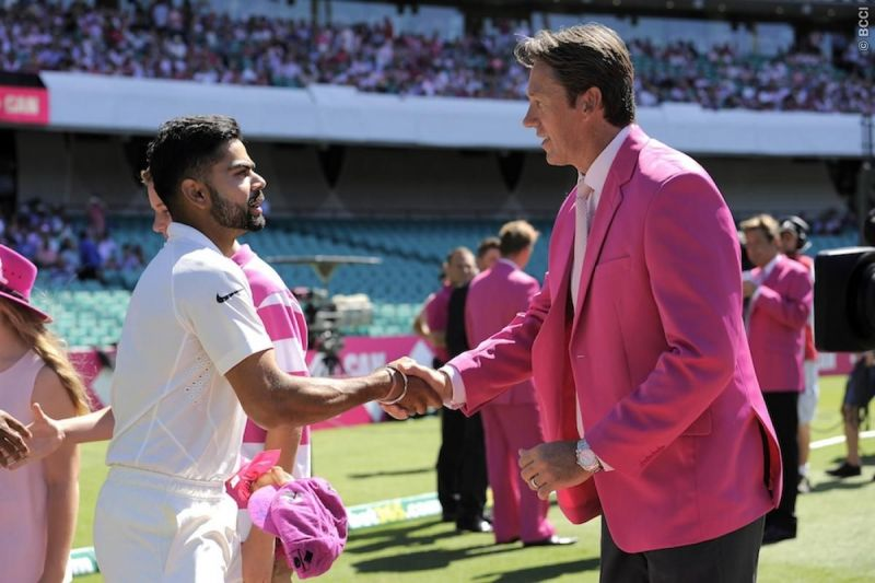 Virat Kohli Glenn McGrath his pink Test cap before the start of day three of the 2015 SCG Test (Photo credits: BCCI)