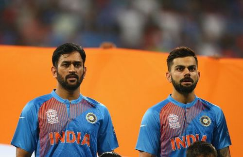 MS Dhoni (L) and Virat Kohli