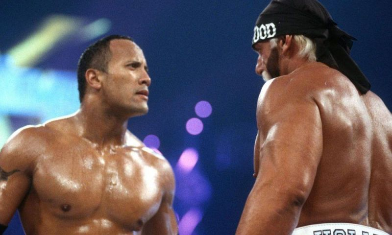 The Rock and Hollywood Hogan face off at Wrestlemania 18