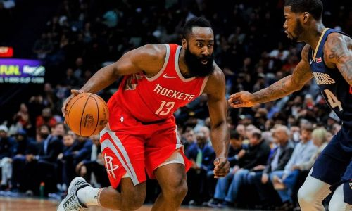 James Harden Dribbling His Way to Another Three-Pointer