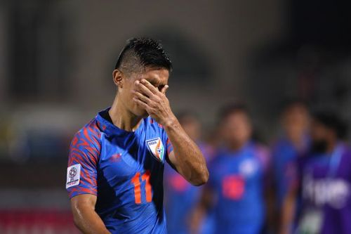 A desolate Sunil Chhetri in what could well be his last tournament for India