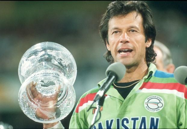 Imran Khan with the 1992 World Cup trophy.
