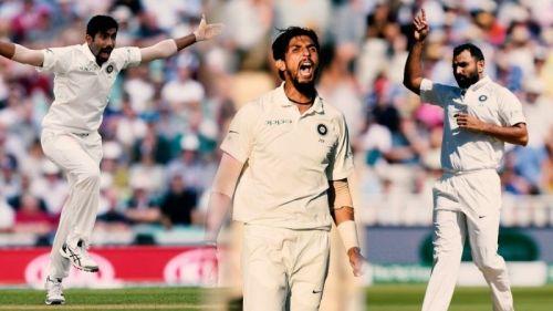 Jasprit Bumrah (L), Ishant Sharma (M) and Mohammed Shami (R)