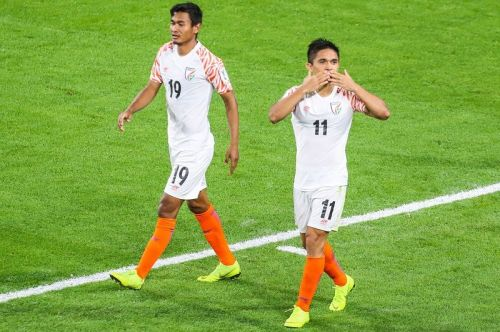 India's Sunil Chhetri (right) celebrates after scoring against Thailand during their Asian Cup match (Image: AIFF Media)