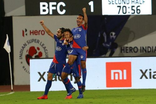 Bengaluru FC players celebrate Chencho Gyeltshen's goal against NorthEast United FC during their Indian Super League match (Image: ISL)