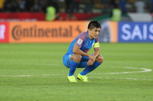 India's Sunil Chhetri is dejected after the team's defeat to Bahrain (Image: AIFF Media)