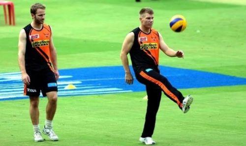 Kane Williamson and David Warner training together for Sunrisers