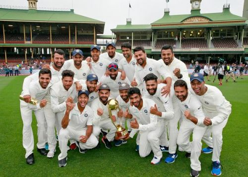 The Indian team after their victory over Australia