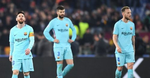 Barcelona players Lionel Messi (left), Gerard Pique (center) and Ivan Rakitic (right) looking disappointed after the team's elimination against AS Roma