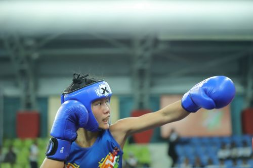 Tingmila Doungel in action during the final bout of U-17 Girls 48kg category at Khelo India Youth Games