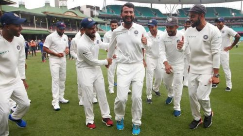 The Indian team after winning the Test series