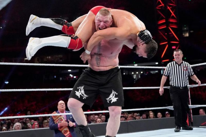 Brock Lesnar trying to hit the F-5 on Finn Balor