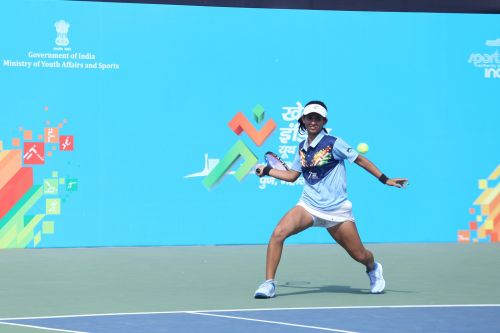 Mehak Jain from Madhya Pradesh in action during her semi-final victory over Zeel Desai in action at Khelo India Youth Games