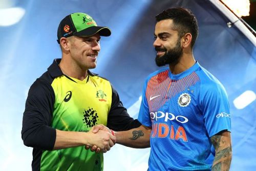 Australian skipper Aaron Finch and Indian captain Virat Kohli