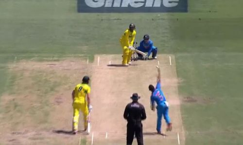 Screengrab of Rayudu bowling during the first ODI