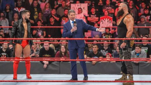 Mr. McMahon invites Lesnar and Heyman to stick around for an impromptu match between The Extraordinary Man and The Gift of Destruction!